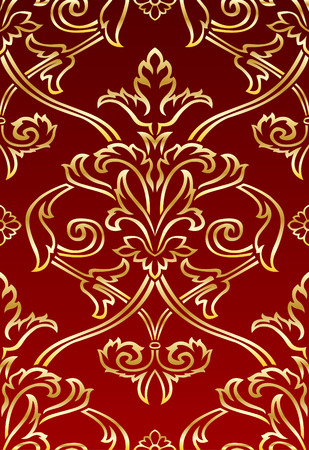 Gold and Red Damask style wallpaper Pattern background Vector