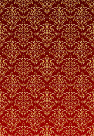 Gold and Red Damask style wallpaper Pattern background Stock Vector - 7594246