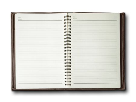 brown cover notebook on white background Stock Photo - 7594277