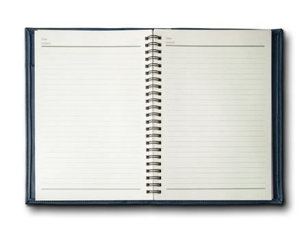 Blue cover notebook on white background Stock Photo - 7594278