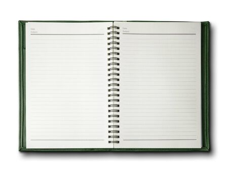 Green cover notebook on white background Stock Photo - 7594276