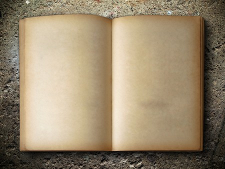 history: open old book two face on rock background Stock Photo