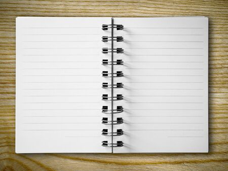 Blank open white notebook on wood vertical background Stock Photo - 7860430