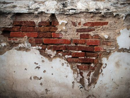 Old broken brick wall background Stock Photo - 7860447