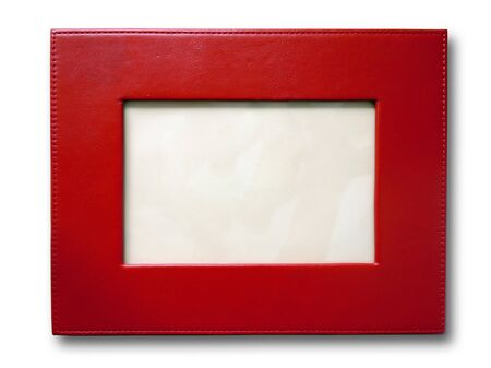 Red leather picture frame isolated on white photo