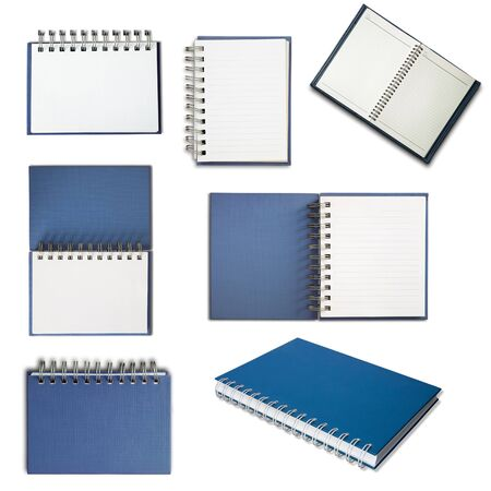 notebook: Blue cover notebook on white background