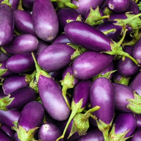 green and purple vegetables: Eggplant purple from market Stock Photo