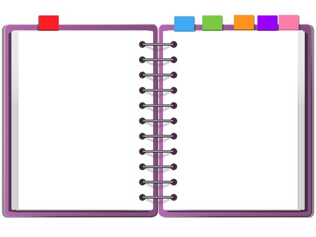 open notebook: purple cover blank white two face note book