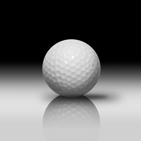 White Golf Ball on White Reflect Floor and Black Background photo