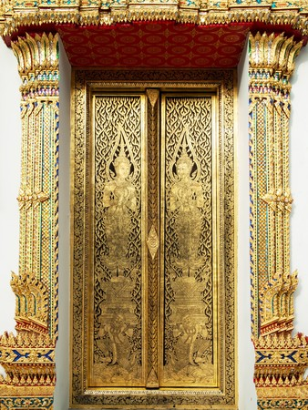 Thai art gold painting on church wood door Bangkok Thailand Stock Photo - 8042422