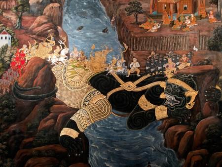 grand palace: Thai art gold painting on wall  in the Grand Palace Bangkok Thailand