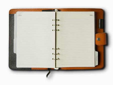 Black and Orange leather cover of binder notebook Stock Photo - 8042381