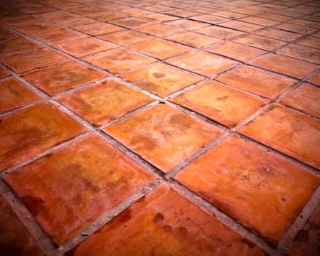 Perspective of Square red tiles floor Stock Photo - 8042457