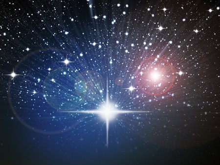 Bright white star in space zoom effect photo