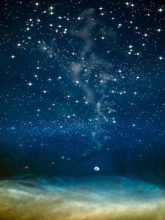 noche y luna: Luna de noche en el espacio grande y estrella