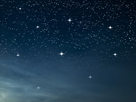 Starry night many bright star in dark blue sky photo