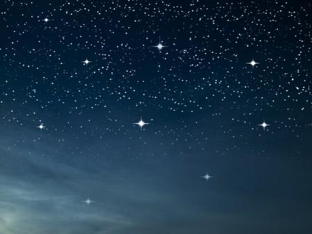 night sky stars: Starry night many bright star in dark blue sky