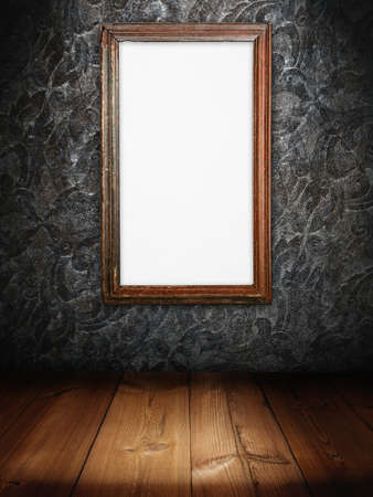 marco madera: Marco de madera vieja de Junta de inicio de sesi�n de blanco en arte thai pared y piso de madera