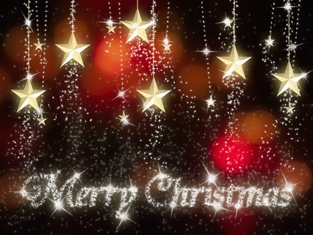marry christmas: gold star for marry christmas red light and night background Stock Photo