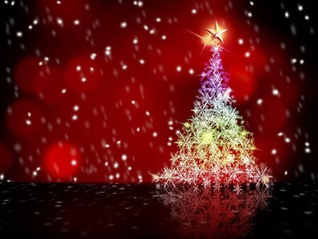 colorful snow Christmas tree gold star on top and red background Stock Photo - 8189154