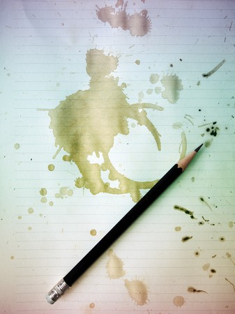 Black pencil on grunge old paper with Coffee stains Stock Photo - 8189159