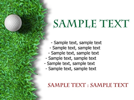 golfing: White golf ball on green grass isolated on white background Stock Photo