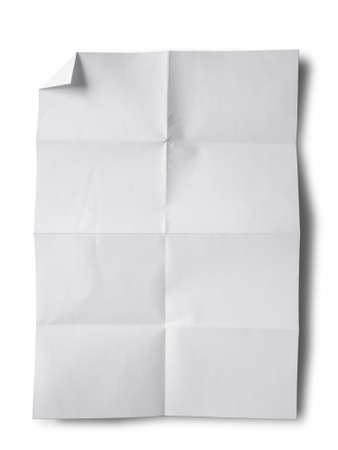 Empty white Crumpled paper on white background vertical Stock Photo