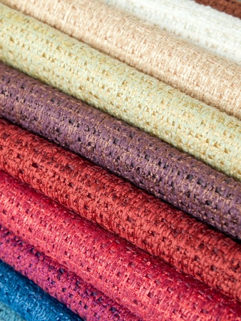 Many examples of colored cotton lining layer photo