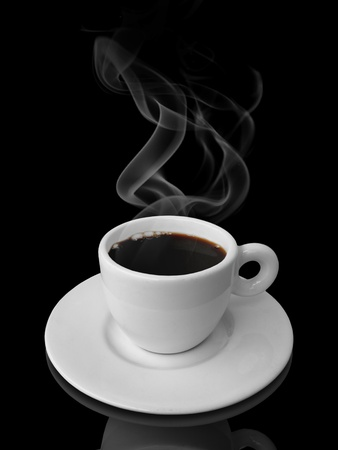 steaming: White Cup of Coffee with smoke in black background