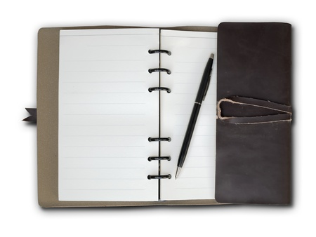 Open Old Brown Leather cover notebook on white background Stock Photo - 8456633
