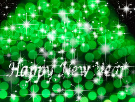 Happy new year light and star green background photo