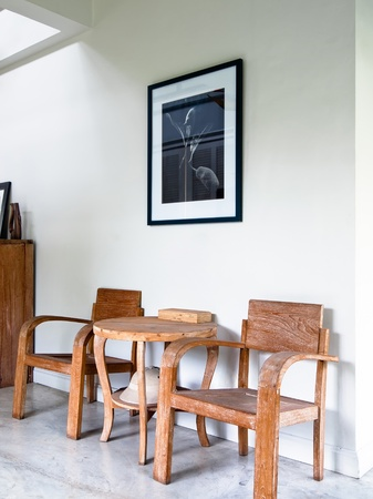 desk area: wood armchair in white home interior