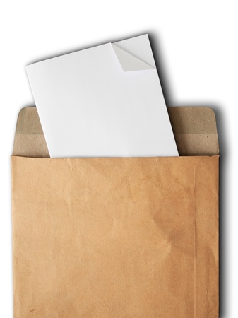 postal office: White paper from a brown open envelope on white Stock Photo