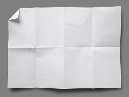 fold: Full page of White paper folded and wrinkled on gray background with shadow