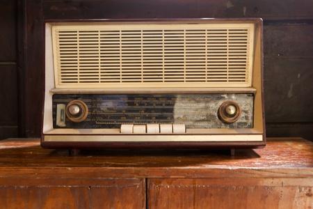 vintage old radio on wood