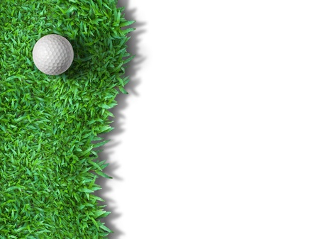 White golf ball on green grass isolated on white with shadow background for web page photo