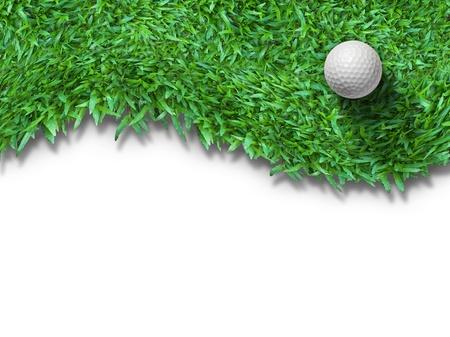 Weisse Golfball auf grünem Gras isoliert auf weiss mit Schatten horizontale Hintergrund für Web-Seite