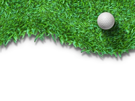 golf equipment: White golf ball on green grass isolated on white with shadow horizontal background for web page