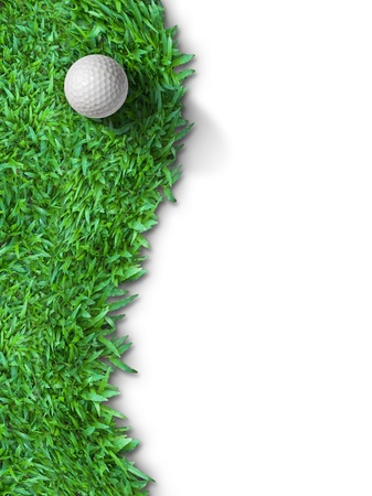 White golf ball on green grass isolated on white with shadow vertical background for web page