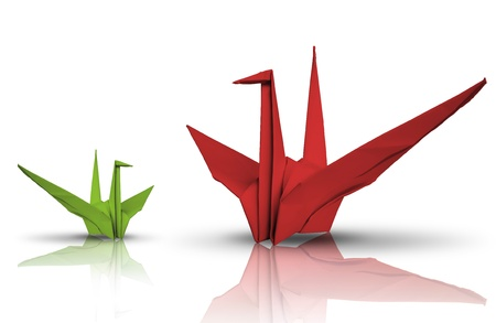 Red and green paper bird on reflect floor photo