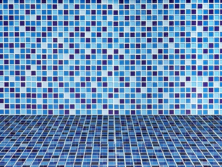 Bright blue ceramic Wall and floor background Stock Photo - 9018443
