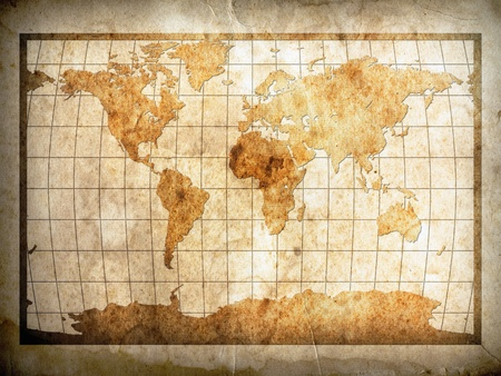 vintage world map: World map on old Brown paper with shadow