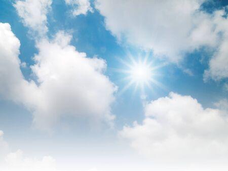 bright blue sky and sun shine Stock Photo