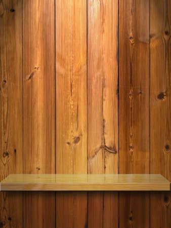 Wood Shelf on Wood Panel and light Stock Photo - 9296824