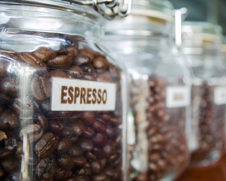 Coffee beans in the Glass bottle photo