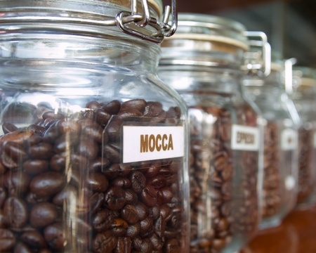 mocca: Mocca Coffee beans in the Glass bottle Stock Photo