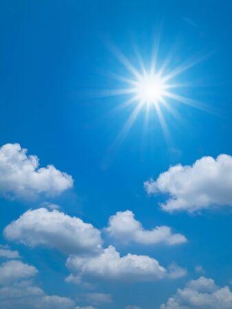 Bright blue sky and sun shine Horizontal Stock Photo - 9428897
