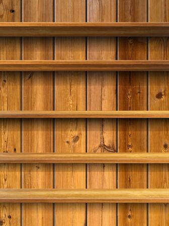 wood shelf: Five Wood Shelf on Wood Panel