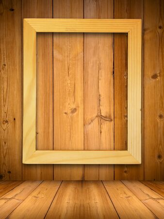 photo of pattern: Wood picture frame on wood panel with shadow