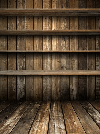 Four Old Grunge Wood Shelf on Panel Stock Photo - 9438779